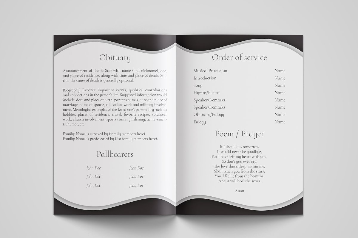 Funeral Program Template - Printable