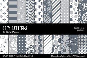 Gray/Grey Digital Papers