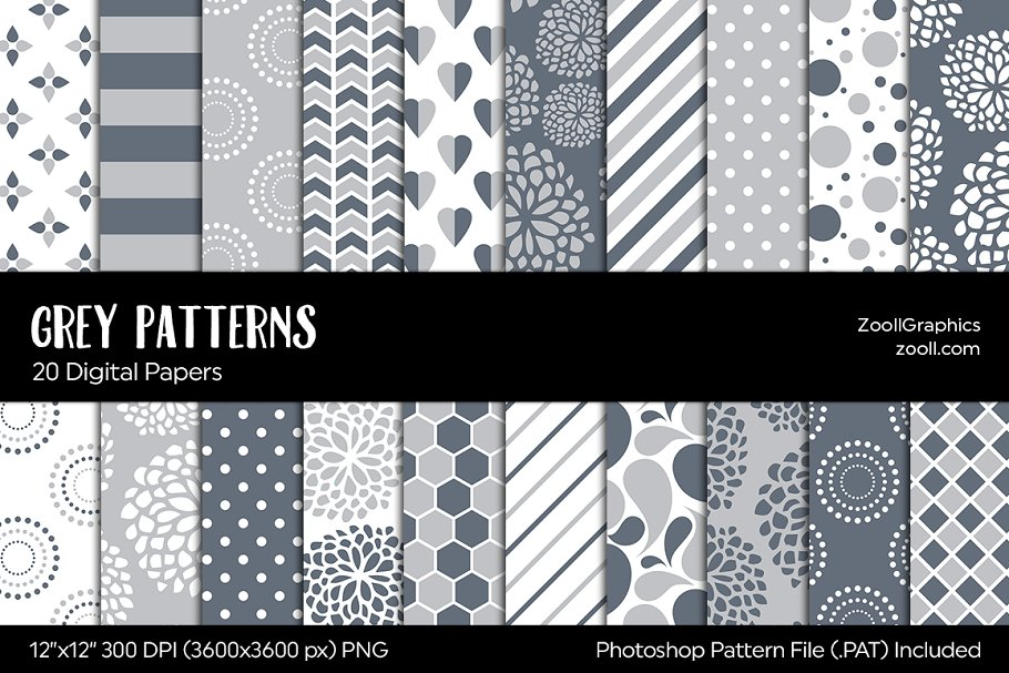 Gray/Grey Digital Papers