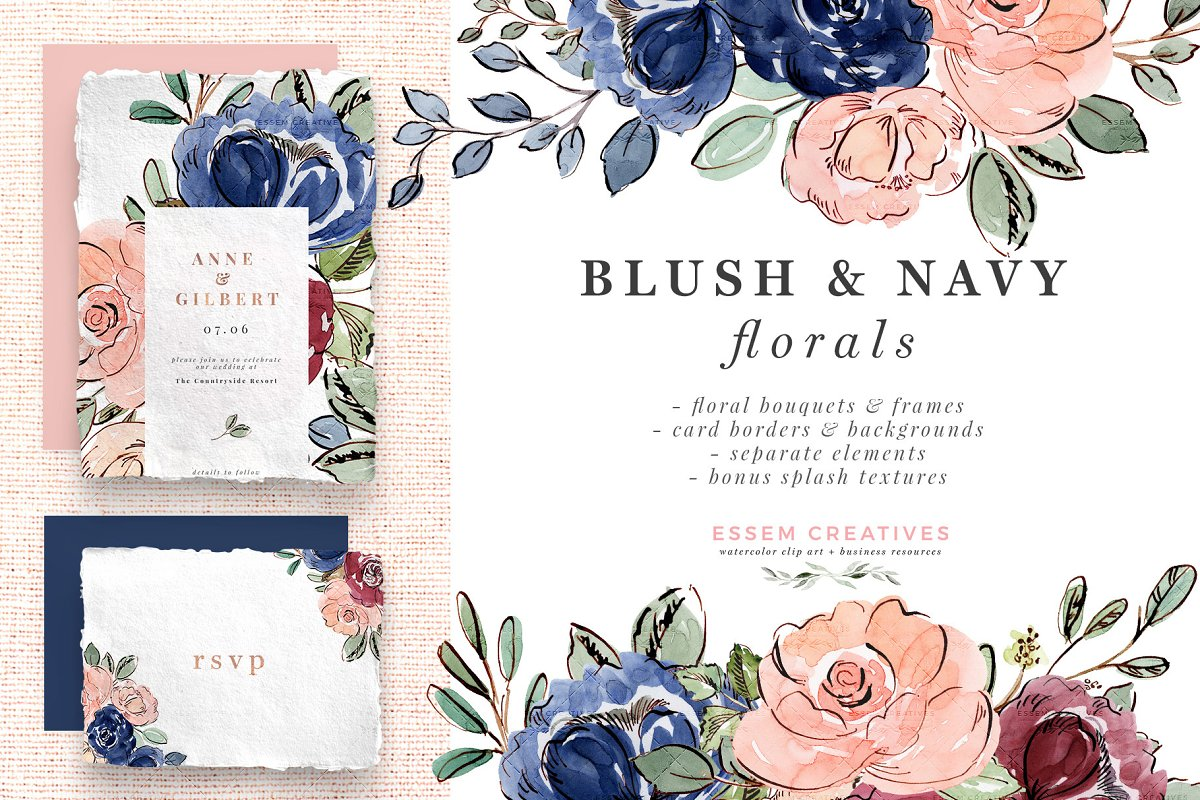 Blush And Navy Watercolor Flowers Custom Designed Illustrations
