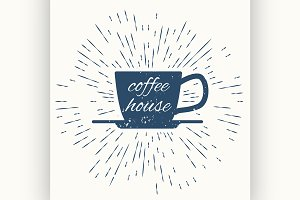 coffee house hipster vintage label