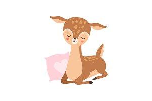 Cute Baby Deer Sleeping with Pink