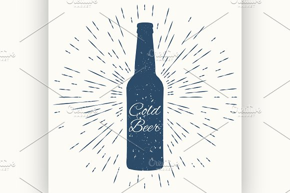 Cold beer. hipster vintage label - Illustrations