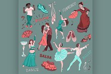 Colored Hand drawn Dance collection