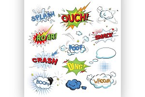 Comic colored speech bubbles