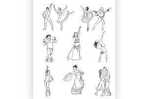 Hand drawn dance icons