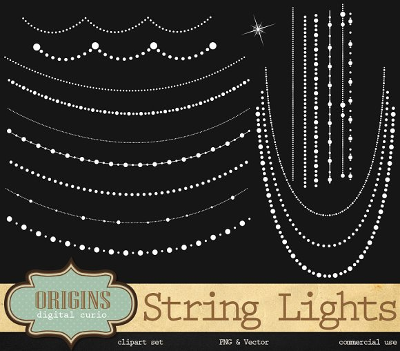 String Lights & Beads Vector Clipart
