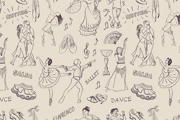 Seamless pattern of the dancing