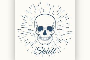 skull and vintage sun burst frame