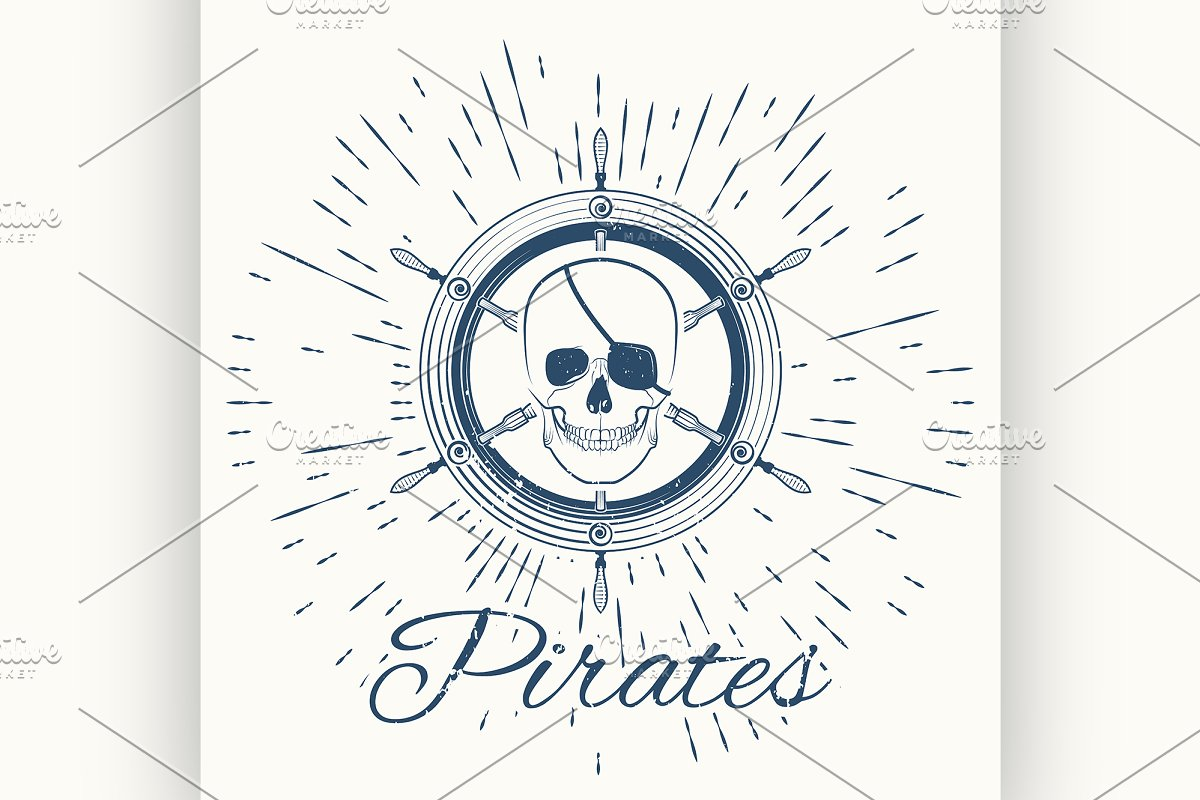 skull pirate and vintage sun burst in Illustrations