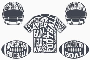 American football with typography