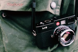leica m8 camera and barbour jacket