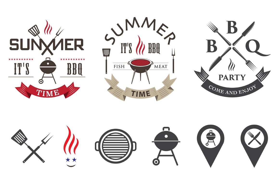 Barbecue Logo Set Objects Creative Market