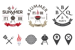 Barbecue logo set