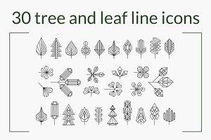30 Tree and Leaves monoline set