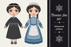 The girl in Orthodox Jews  dress.