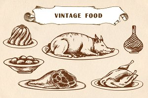 Vintage hand drawn food