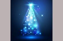Christmas tree. Magic lights.