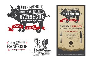 Invitation card barbecue pig