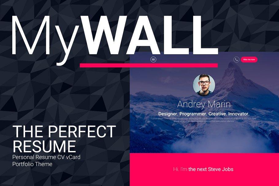 MyWALL Personal Resume CV vCard HTML