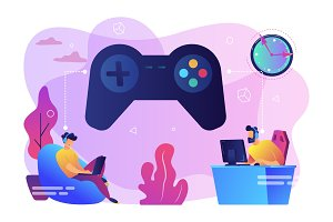 Gaming disorder concept vector