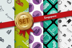 Set of Singapore icons