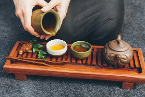 Traditional tea ceremony close up wi