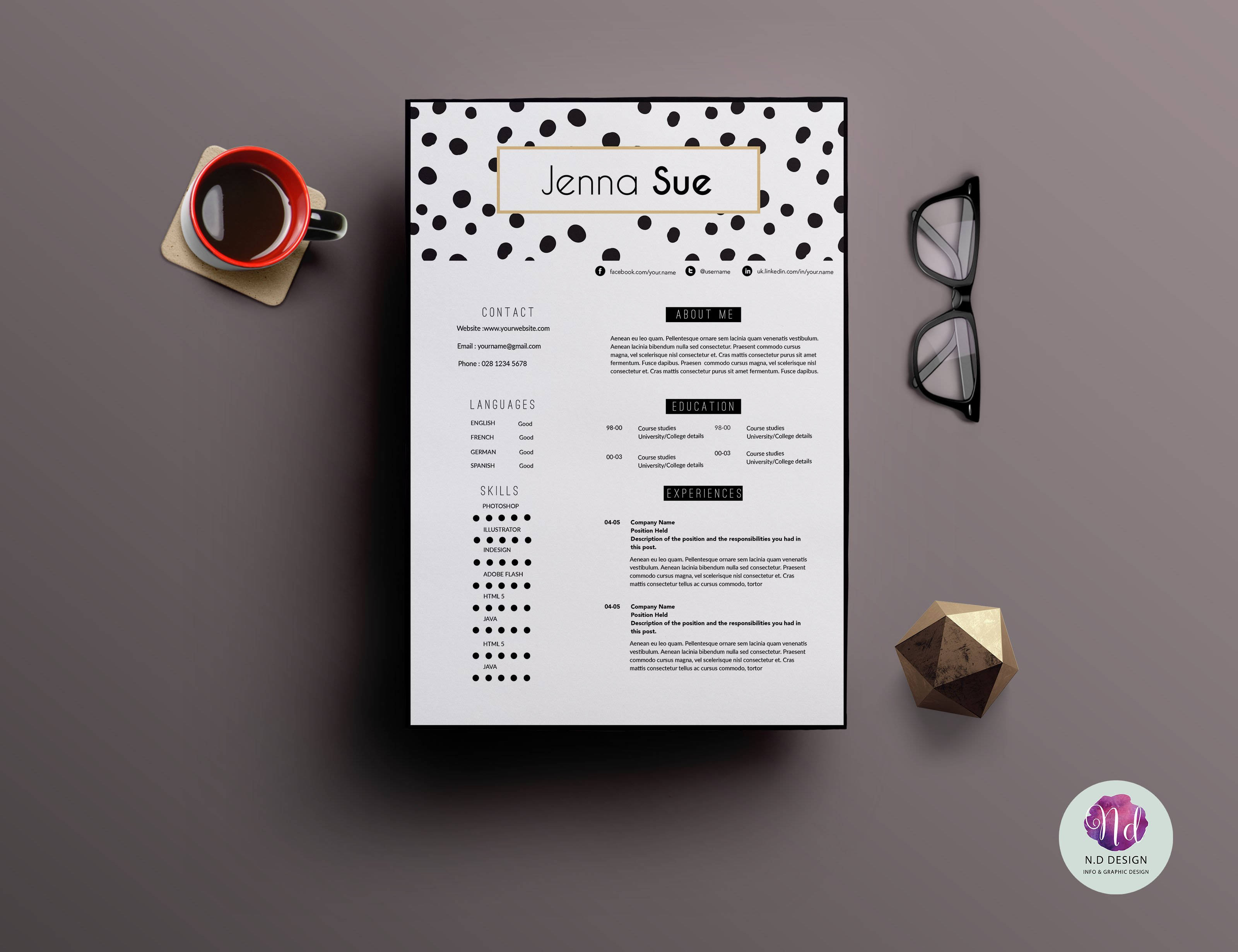 creative 2 page cv template resume templates creative market