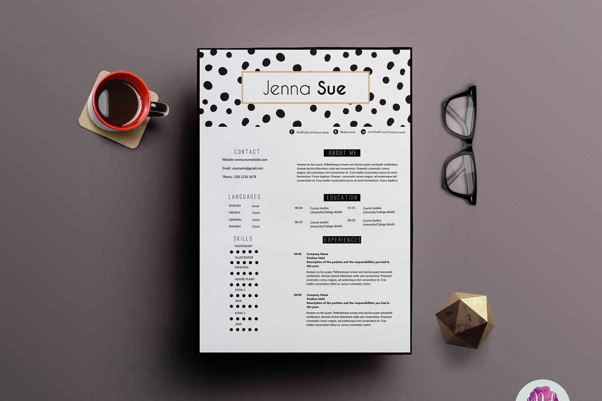 Creative 2 page CV template