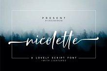 Nicolette Script by  in Script Fonts