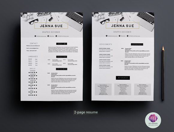 modern 2 page cv template resume templates creative market