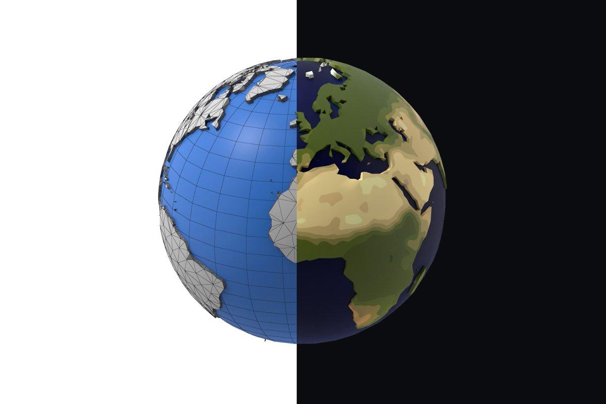 Earth low poly simple design cartoon
