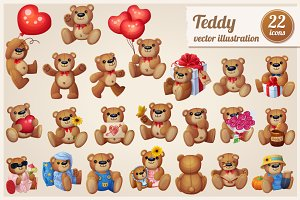 Set of 22 cartoon Teddy bears