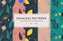 Floral Illustrated Seamless Patterns by  in Patterns