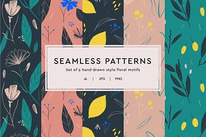 Floral Illustrated Seamless Patterns
