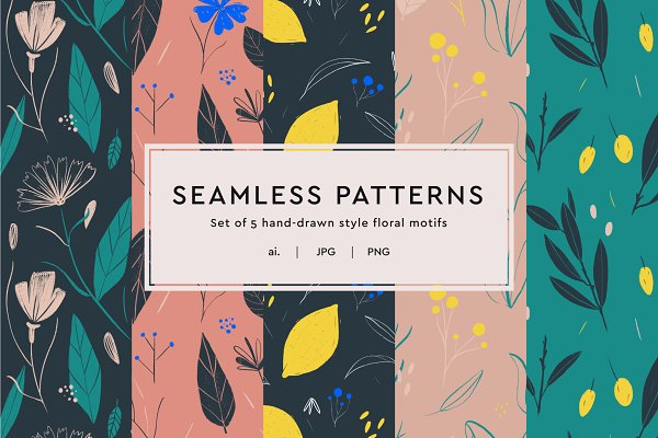 Graphic Patterns - Floral Illustrated Seamless Patterns