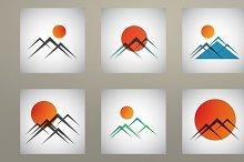 Set mountains and sun icon vector