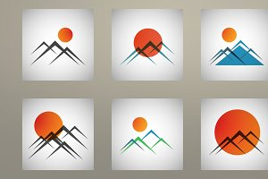 Set mountains and sun icon vector
