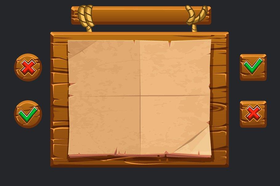 Cartoon wooden game assets ~ Graphics ~ Creative Market