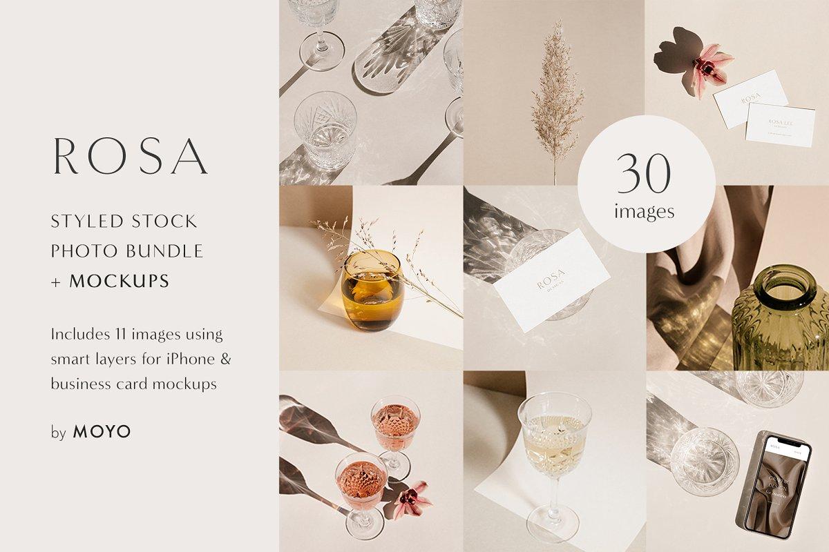 319cda6ad462 Rosa - Stock Photo   Mockup Bundle ~ Branding Mockups ~ Creative Market