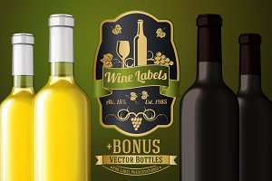 Vector Set - Wine labels + Bonus