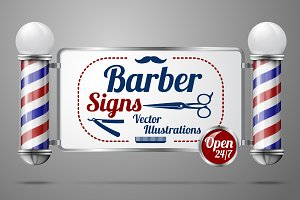 Barber poles and signs vector set