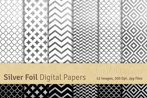 Silver Foil Digital Papers