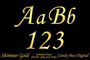 Shimmer Gold Foil Alphabet Clipart