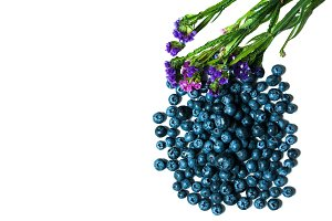 Bilberries and flowers isolated