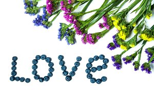 Bilberries love and flowers isolated