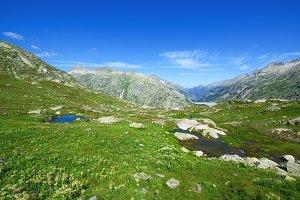 Hiker observing beautiful landscape