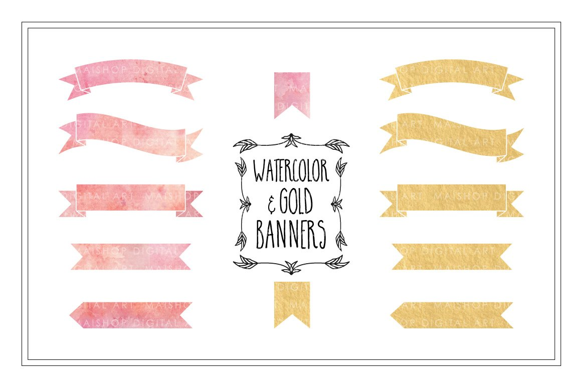 Watercolor Amp Gold Banners Graphic Objects Creative Market