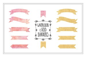 Watercolor & Gold Banners