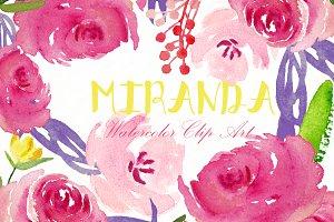 Miranda roses. Watercolor Clipart.